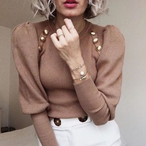 NWT Zara Gold Button Ballon Puff Sleeves Sweater